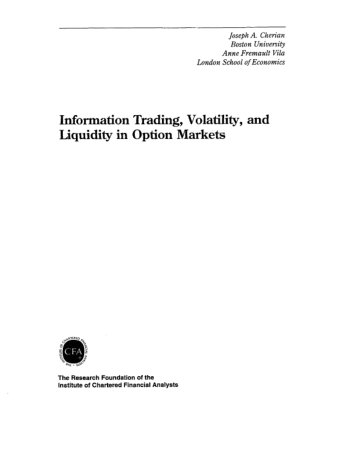 Information Trading Volatility and Liquidity in Option Markets Book, Download Free Templates