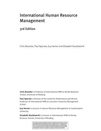 International Human Resource Management 3rd Edition Book, Download Free Templates