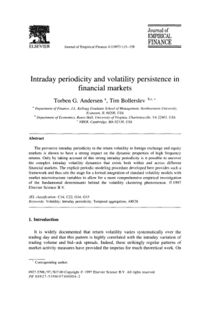 Intraday periodicity and volatility persistence in financial markets Book, Download Free Templates