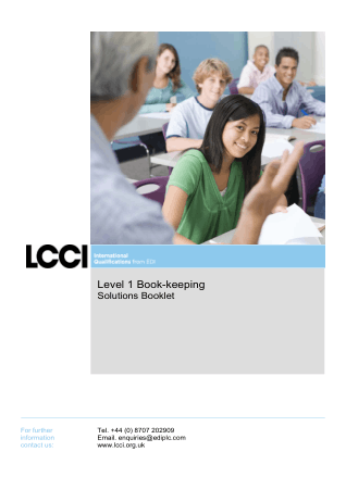 Level 1 Book keeping Solutions Booklet Home LCCI International Book, Download Free Templates