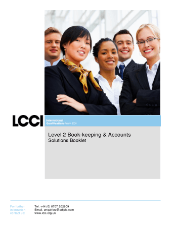 Level 2 Book keeping and Accounts Home LCCI International Book, Download Free Templates