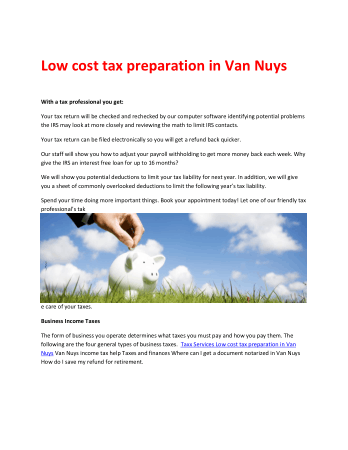 Low cost tax preparation in Van Nuys Book, Download Free Templates