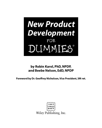 New Product Development for Dummies Book, Download Free Templates