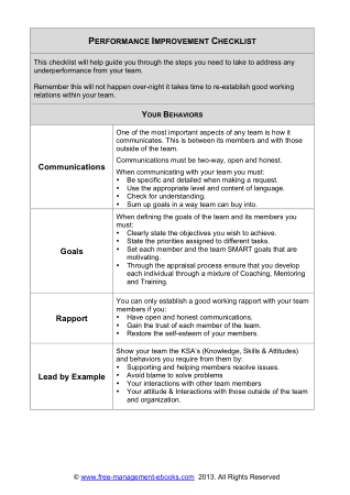 Performance Improvement Checklist Book, Download Free Templates