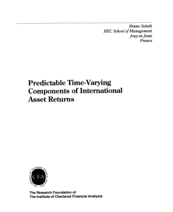 Predictable Time Varying Components of International Asset Returns Book, Download Free Templates