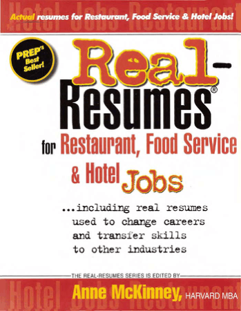 Real Resumes for Restaurant Food Service and Hotel Jobs Book, Download Free Templates