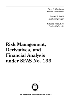 Risk Management Derivatives and Financial Analysis under SFAS No. 133 Book, Download Free Templates