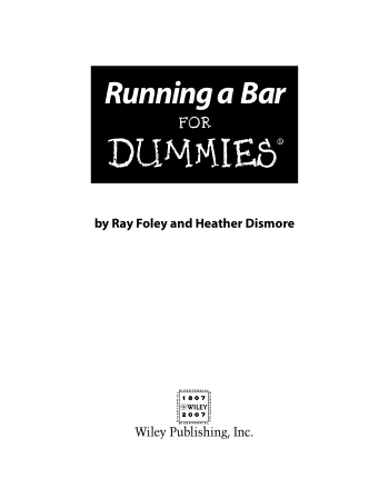 Running A Bar For Dummies Book, Download Free Templates