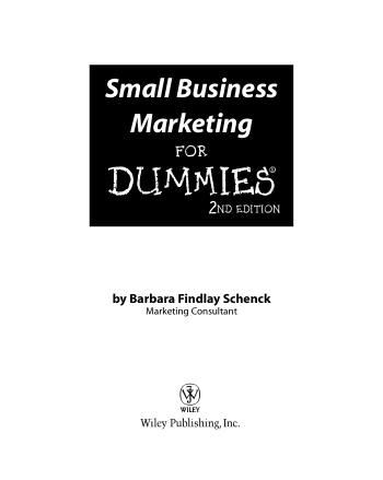 Small Business Marketing for Dummies 2nd Edition Book, Download Free Templates