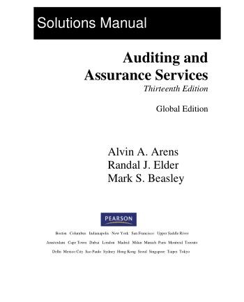 Solutions Manual of Auditing and Assurance Services 13E by Arens Elder and Beasley Book, Download Free Templates