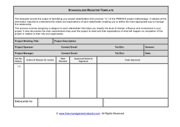 Stakeholder Register Template Book, Download Free Templates