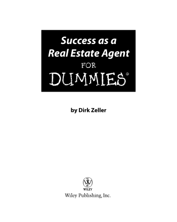 Success as a Real Estate Agent for Dummies Book, Download Free Templates