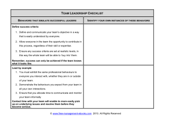 Team Leadership Checklist Book, Download Free Templates