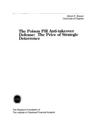 The Poison Pill Anti-takeover Defense The Price of Strategic  Deterrence Book, Download Free Templates