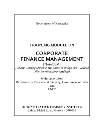 Training Module on Corporate Finance Management Book, Download Free Templates