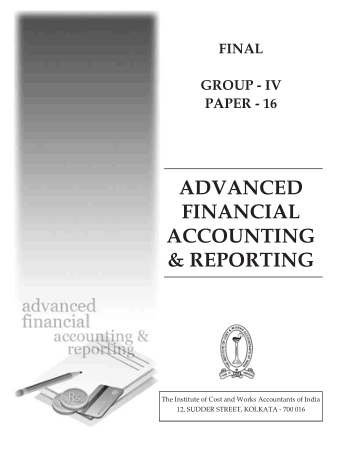Advanced Financial Accounting Reporting ICWAI Book Free Templates