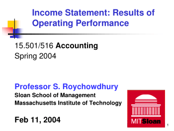 Income Statement Results of Operating Performance Book Free Templates