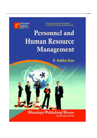Personnel And Human Resource ManagementP Subba Rao Book Free Templates