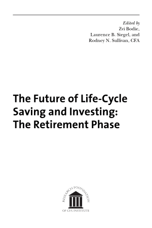 The Future of Life-Cycle Saving and Investing The Retirement Phase Book Free Templates